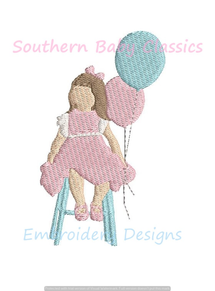 Sitting Girl With Birthday Balloons Mini Fill Machine Embroidery Design Baby Girls