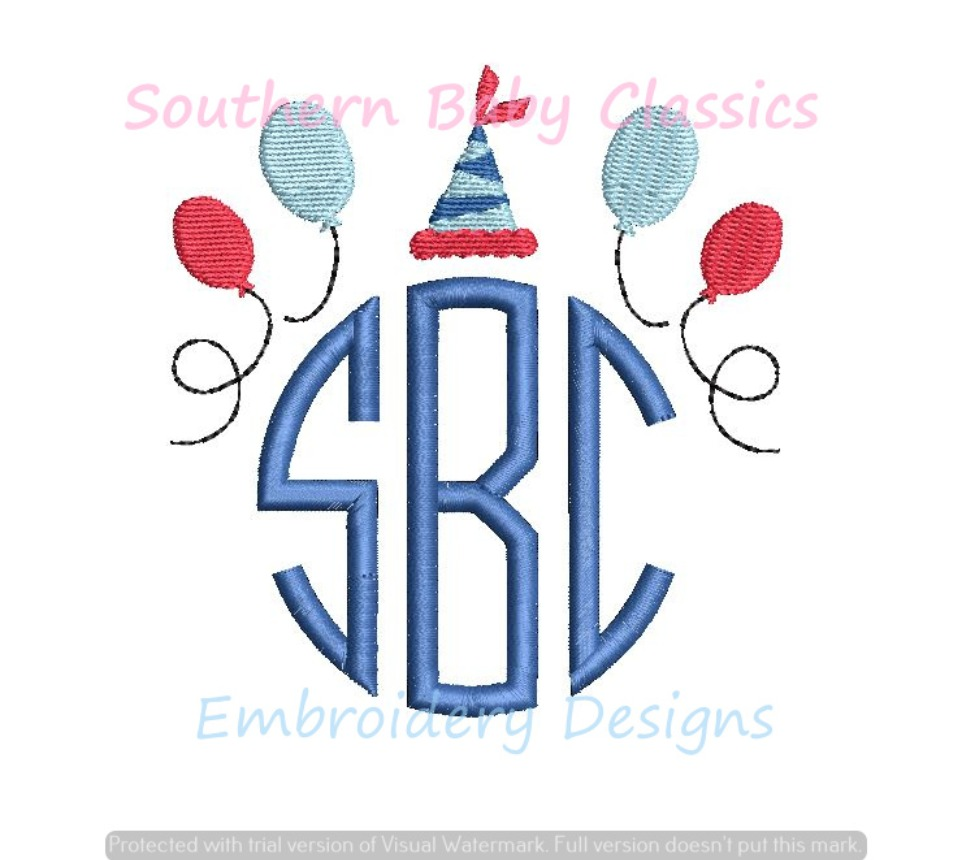 Birthday Hat Balloons Monogram Topper Frame Machine Embroidery Design Party