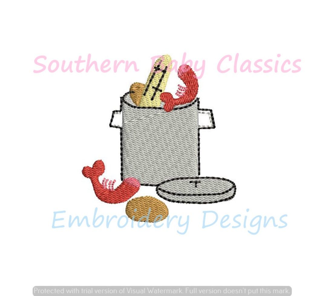 Low Country Boil Mini Fill Machine Embroidery Design Southern Preppy Summer Vacation