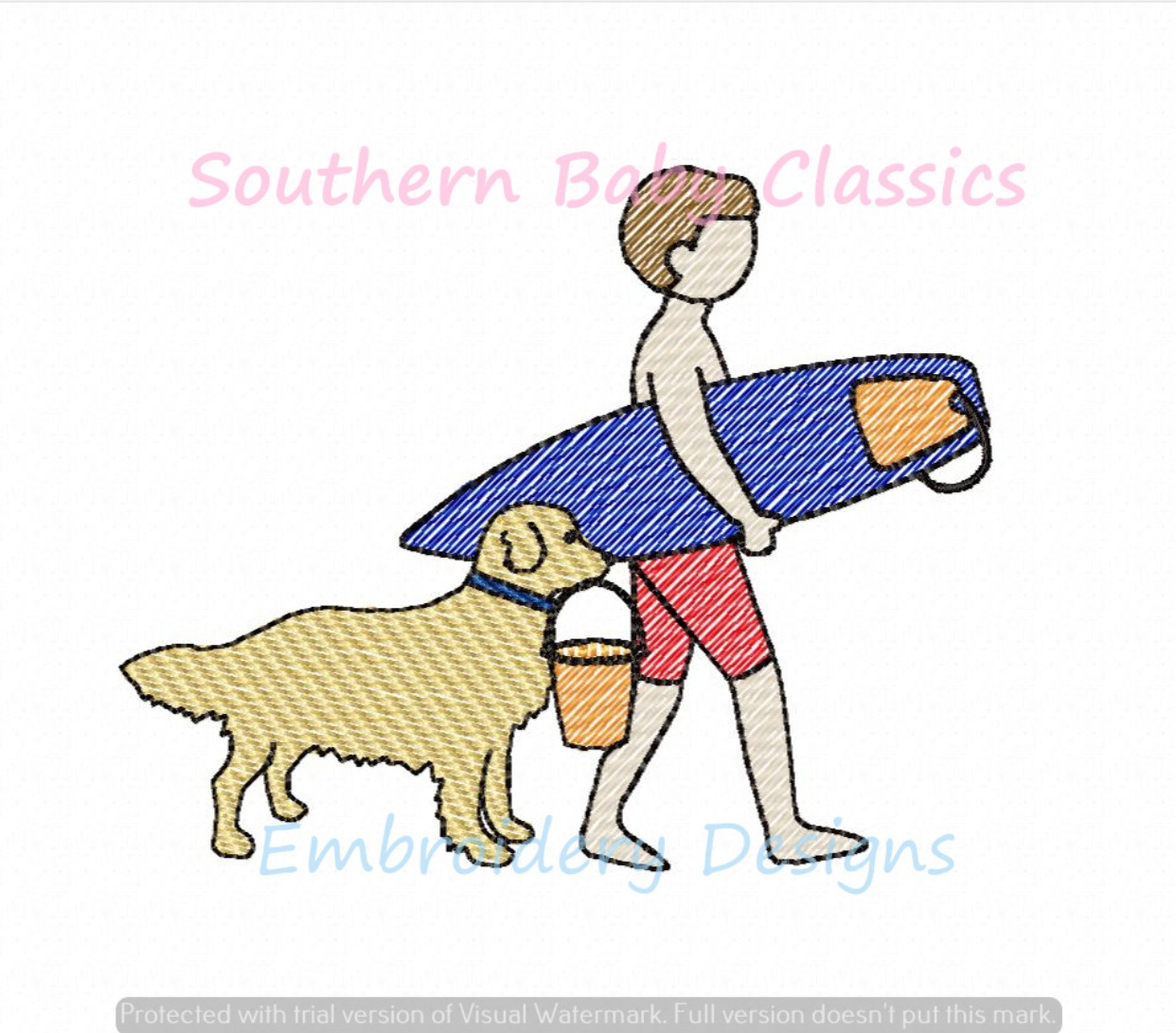 Boy and Dog Beach Day Light Sketchy Fill Machine Embroidery Design Surf Dog Golden Retriever Surfing
