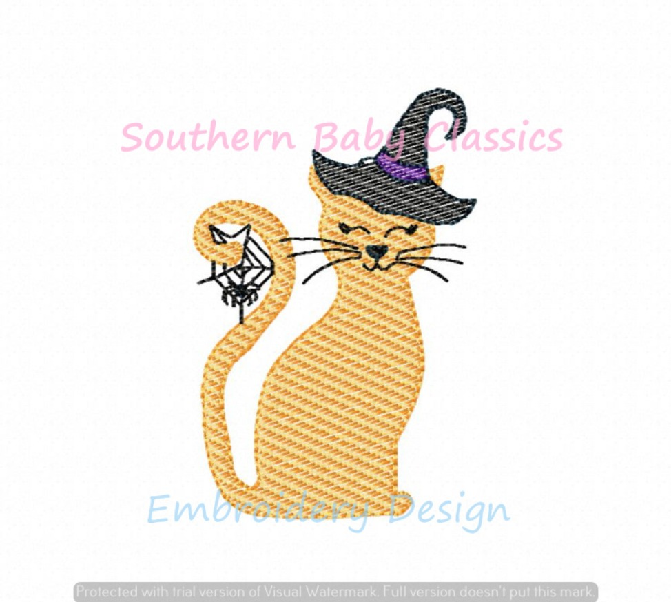 Halloween Witchy Cat Sketchy Light Fill Machine Embroidery Design Kitten Kitty Witch Hat