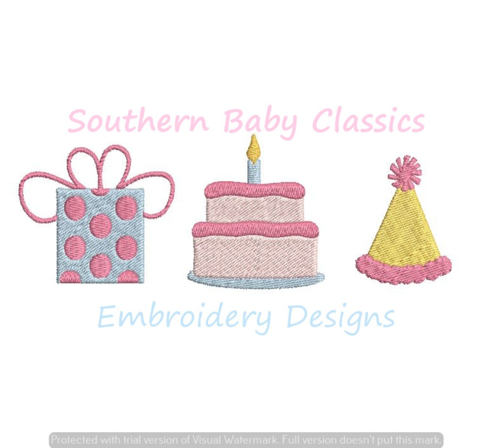 Birthday Party Trio Fill Machine Embroidery Design Present Cake Candle Hat Boy Girl First