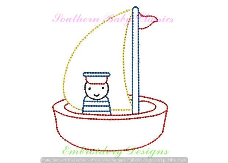 Bath Toy Boat With Sailor Classic Vintage Machine Embroidery Design