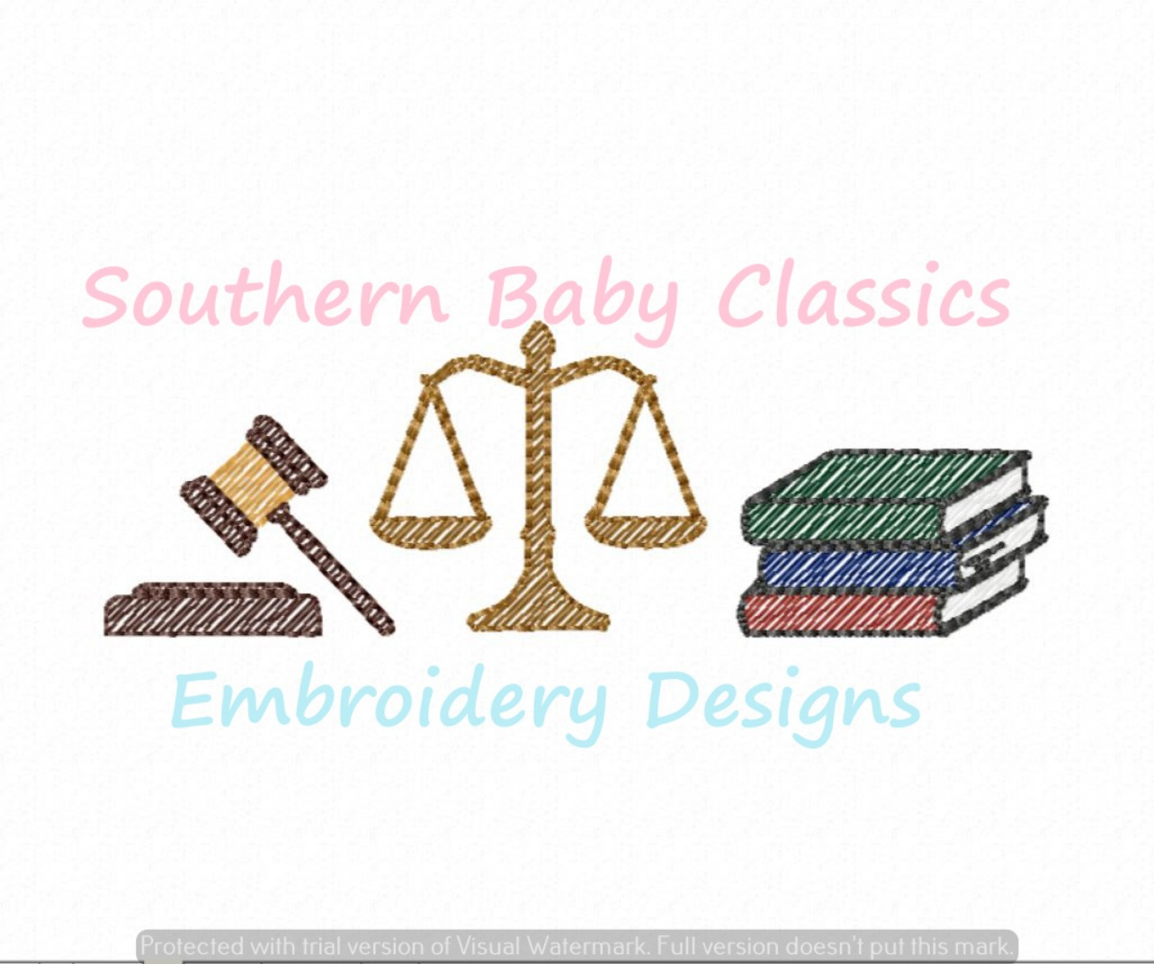 Law Trio Sketchy Fill Machine Embroidery Design Lawyer Justice Judge Scales Gavel Books