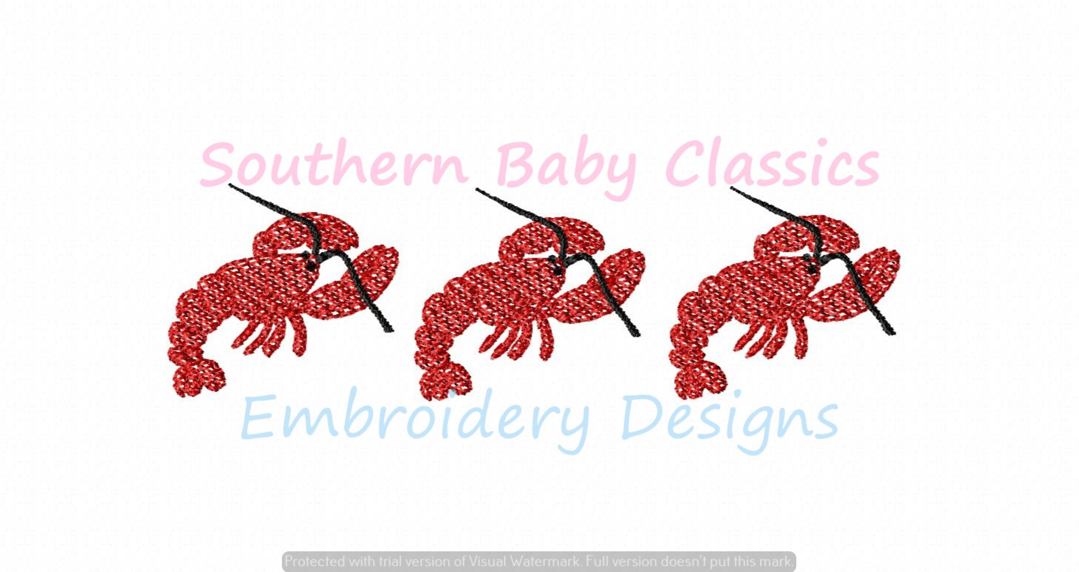 Lobster Light Fill Trio Machine Embroidery Summer