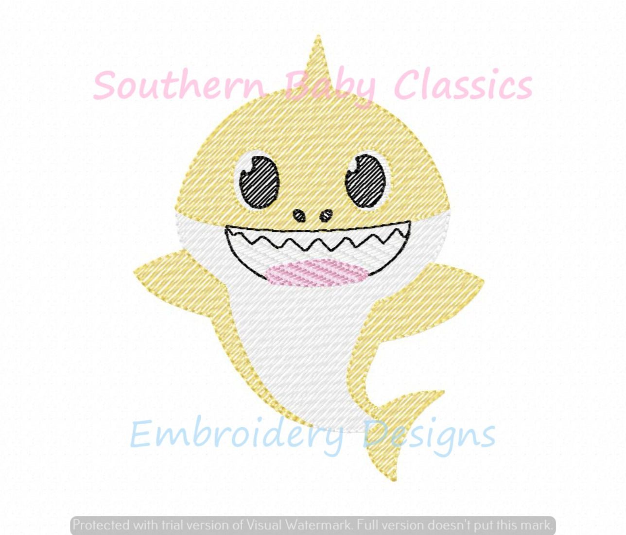 Baby Little Shark Character Machine Embroidery Design Light Sketchy Fill