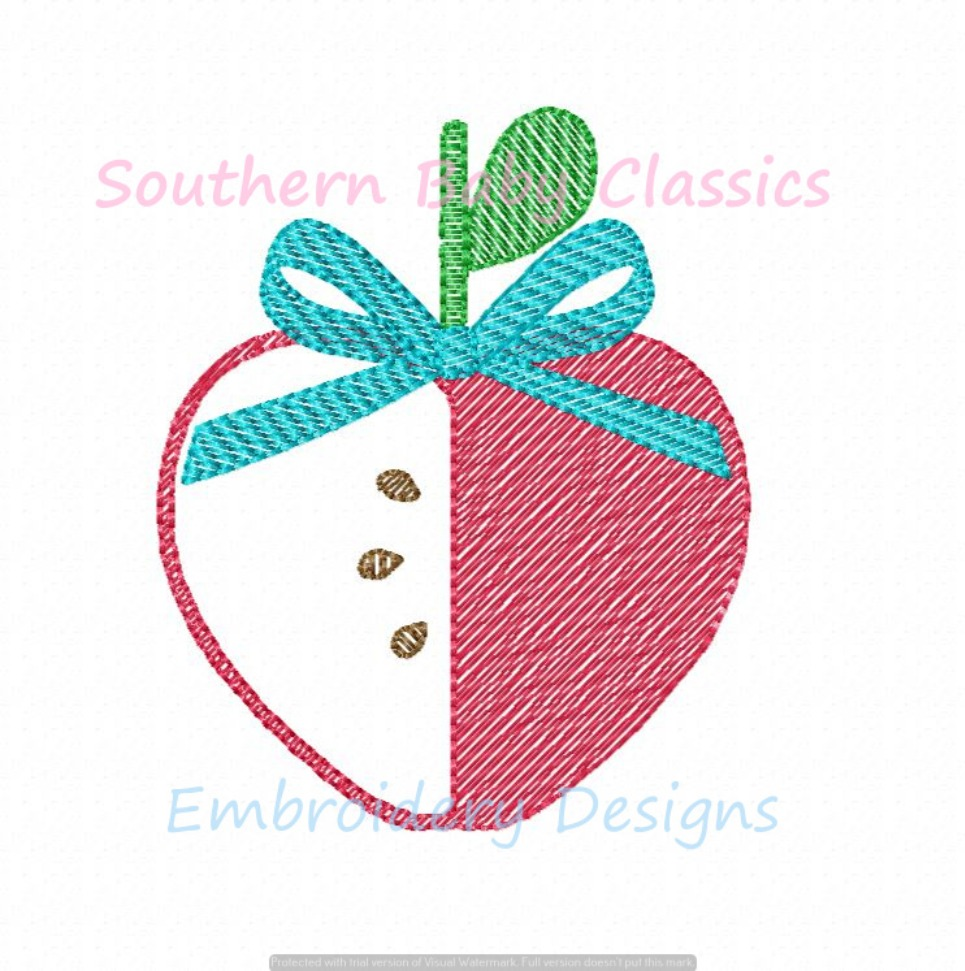 Apple Heart Bow Sketchy Fill Back To School Machine Embroidery Design Girl Teacher