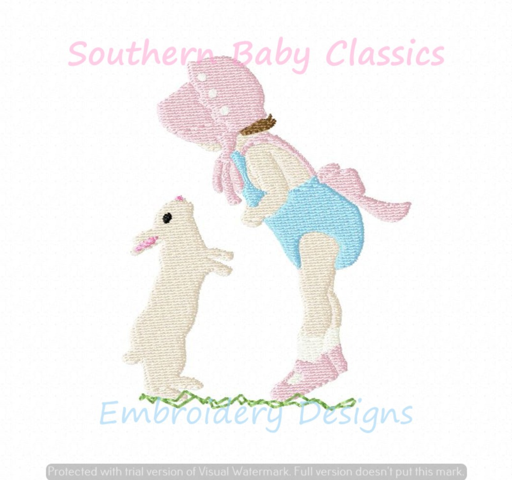 Easter Button Bonnet Girl and Bunny Rabbit Fill Machine Embroidery Design