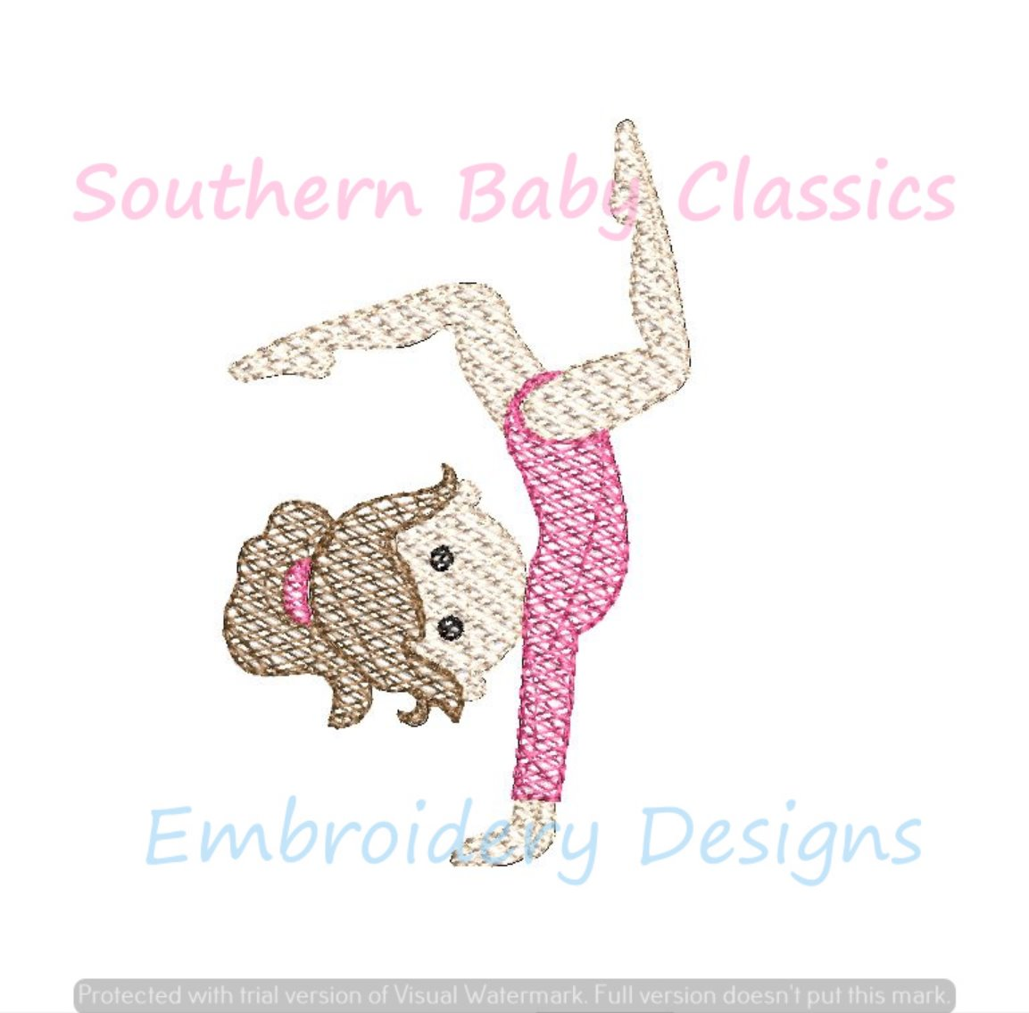 Gymnast Hand Stand Sketchy Fill Machine Embroidery Sports