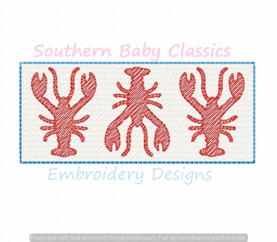 Lobster Crawfish Trio Light Sketchy Faux Smock Smocking Machine Embroidery Design Summer Vacation