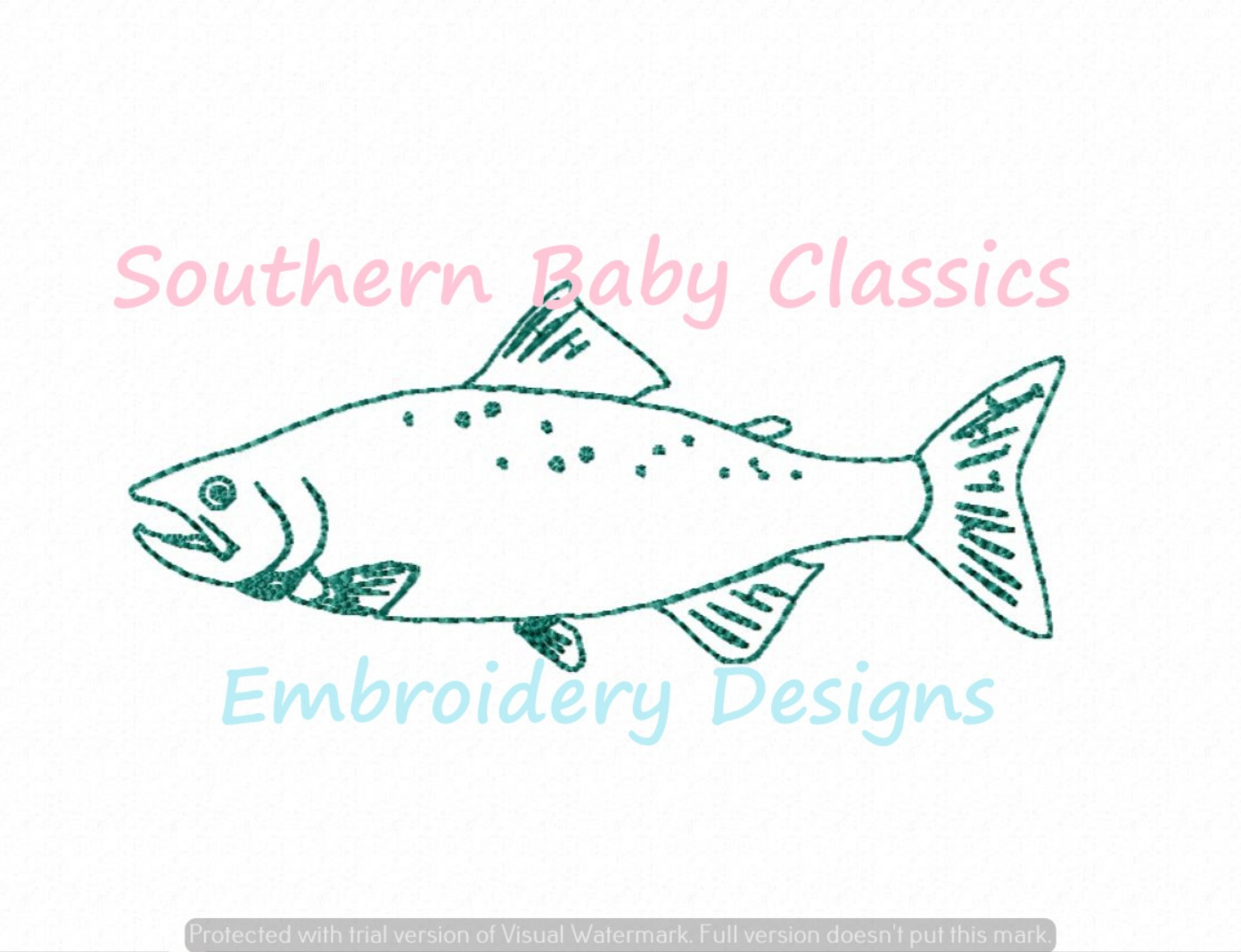 Spotted Speckled Trout Fish Vintage Stitch Machine Embroidery Design Single Color Fishing