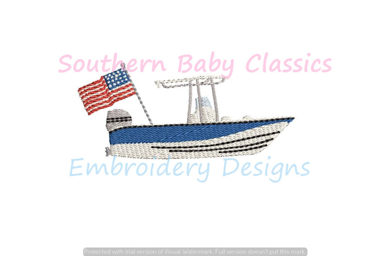 Boat Skiff with American Flag Patriotic Fill Machine Embroidery Design