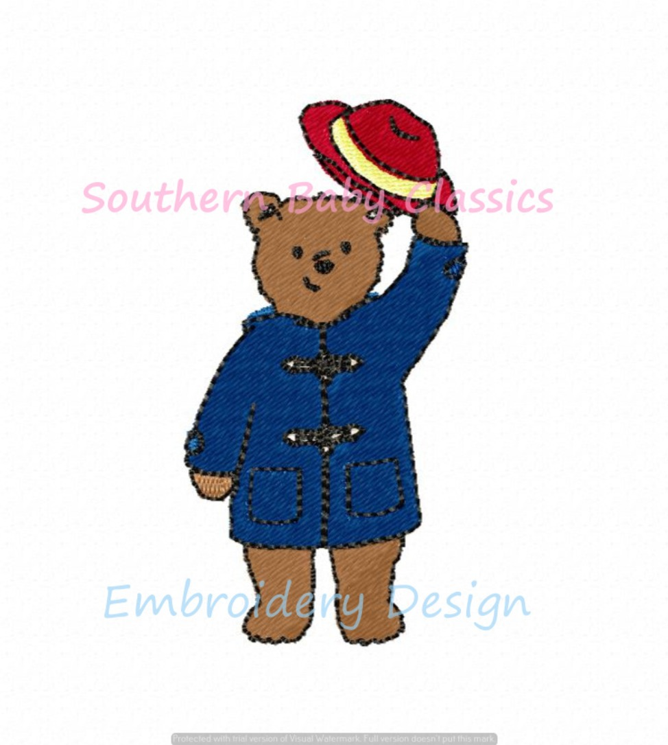 Coat Red Hat Wearing Bear Character Fill Machine Embroidery Design Bears Teddy