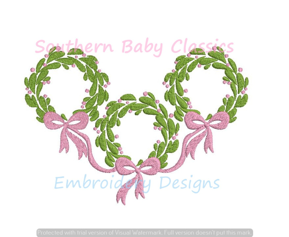 Christmas Wreath Trio Connected with Bow Machine Embroidery Design