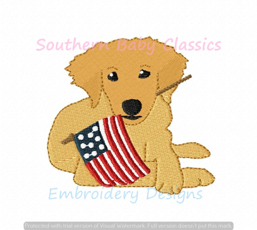 Golden Retriever Dog with American Flag Machine Embroidery Design Fourth 4th of July Independence