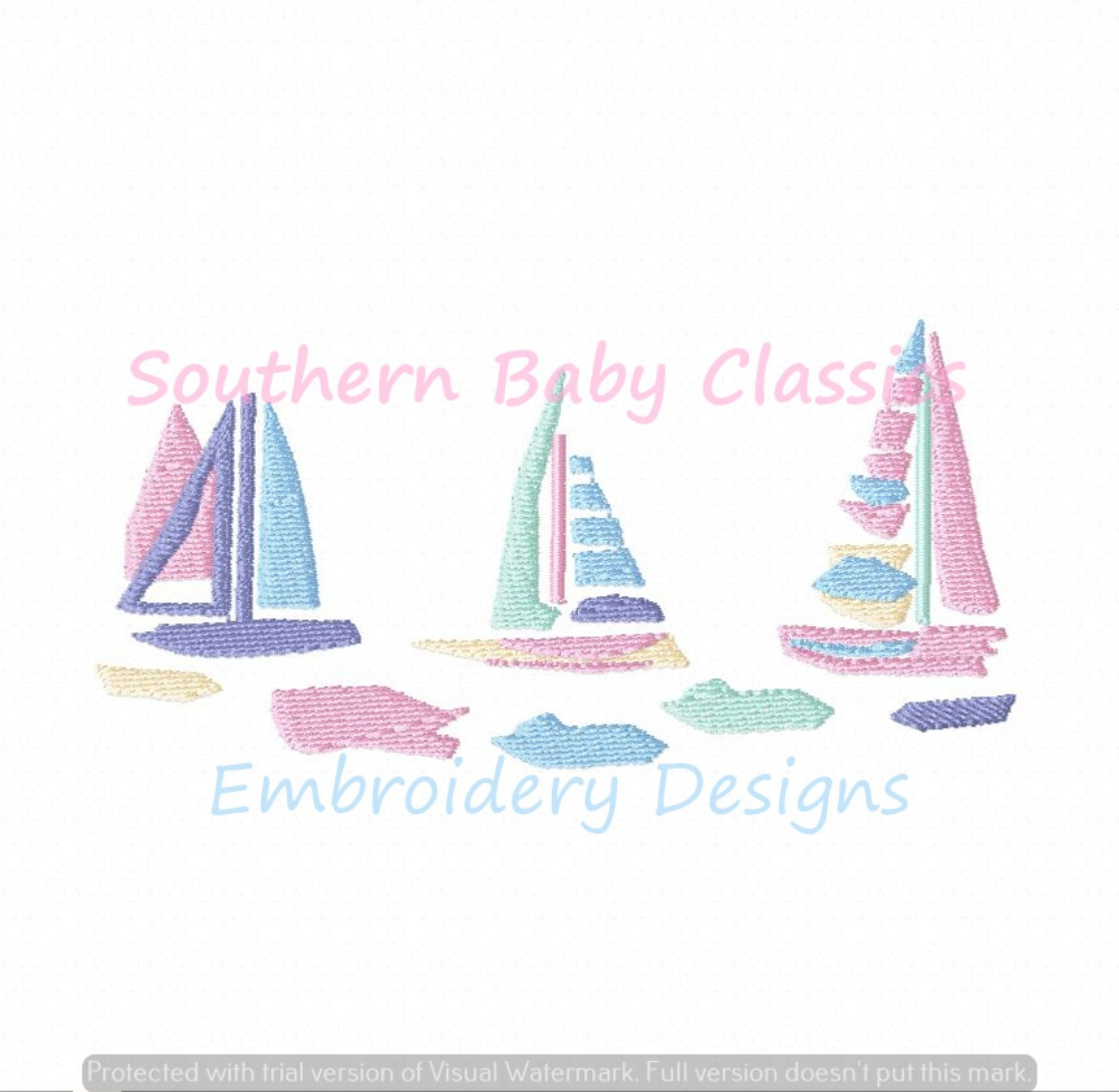 Preppy Pastel Sailboats Trio Sail Boat Boats Machine Embroidery Design Summer Vacation Boy Girl