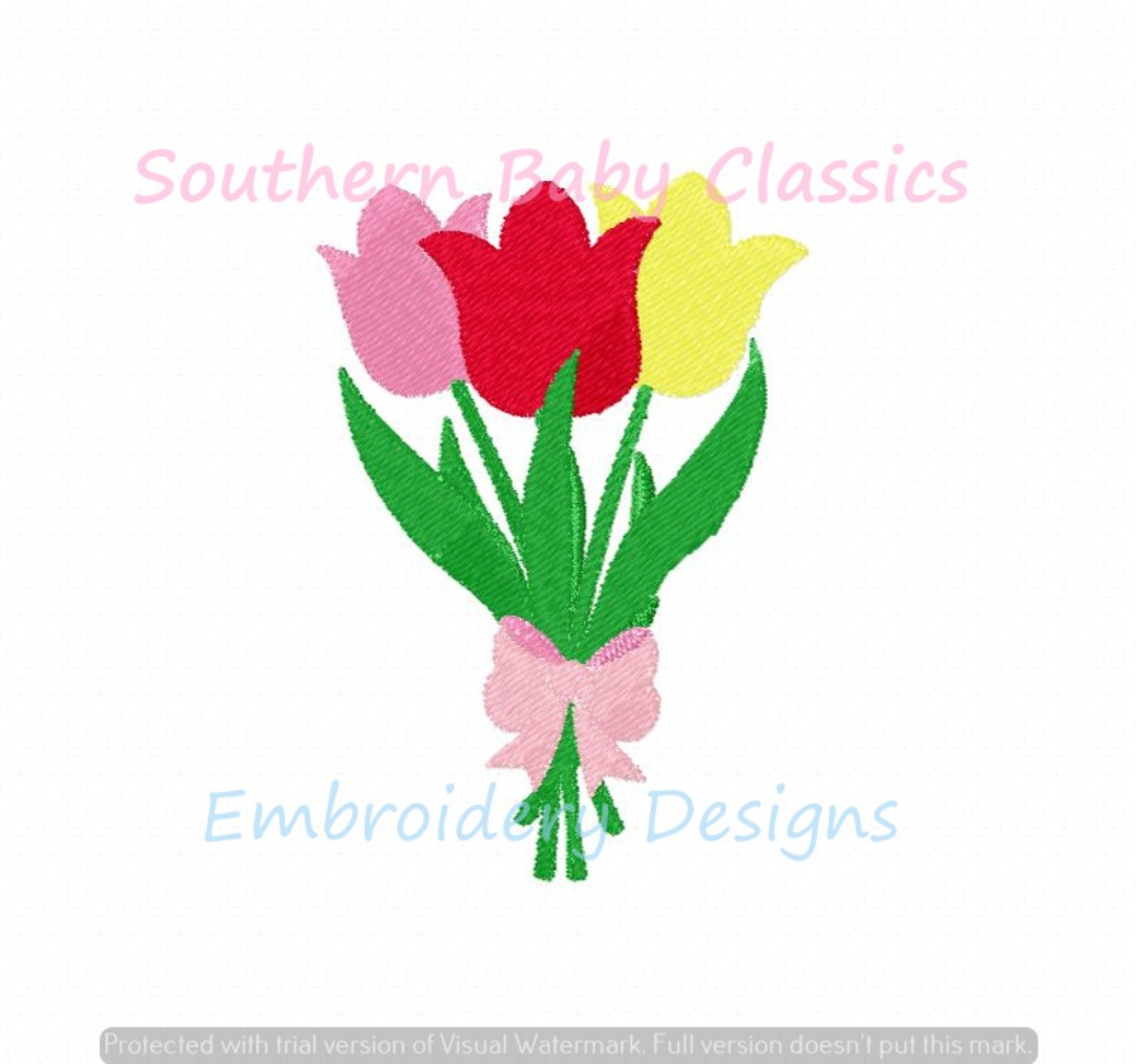 Tulip Flowers in Bunch with Bow Mini Fill Machine Embroidery Design Spring Easter Girl Preppy