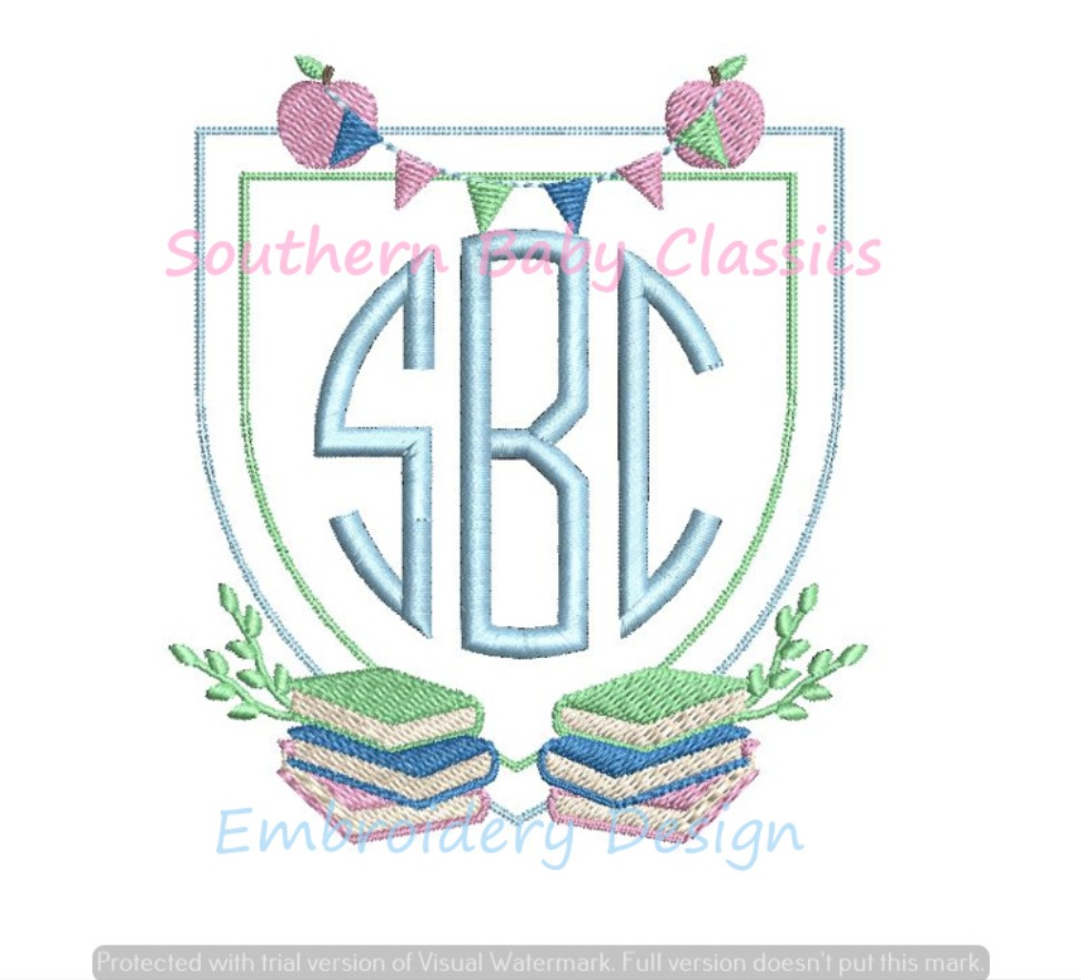 Back to School Stacked Books Apple Pennant Monogram Crest Frame Machine Embroidery Design