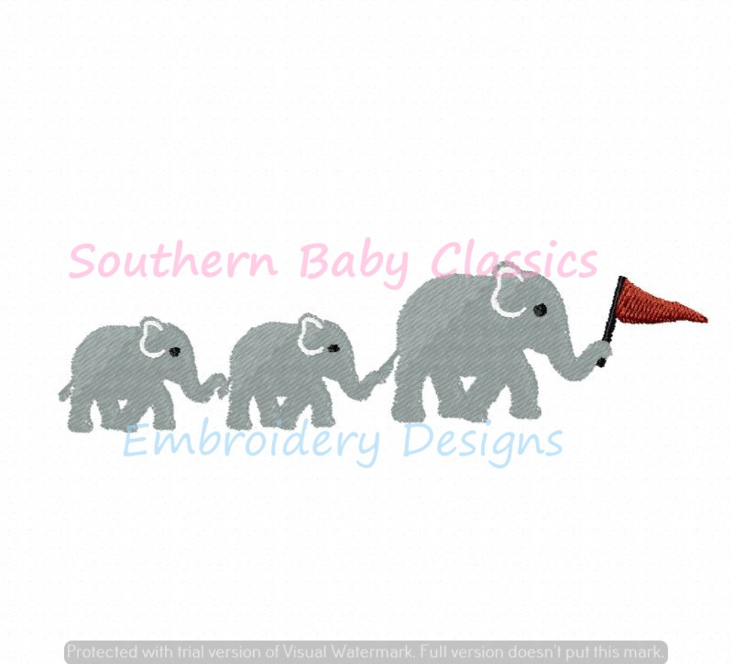 Elephant Trio Mommy and Baby Football Machine Embroidery Design Mascot Flag