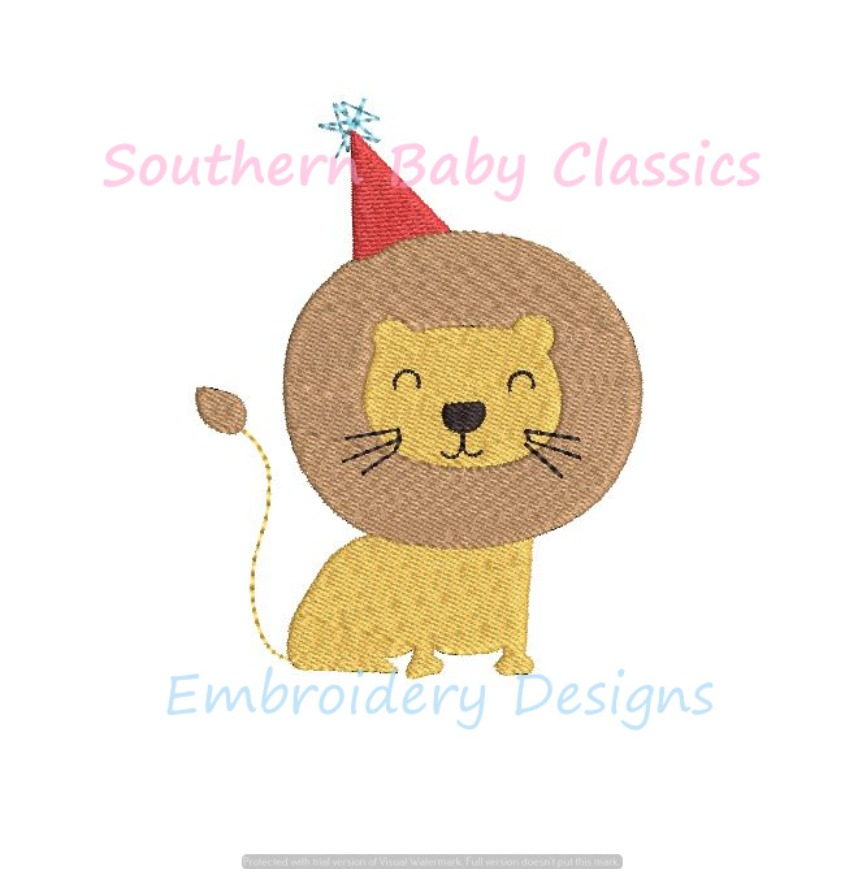 Lion Jungle Zoo Birthday Machine Embroidery Design Party Hat