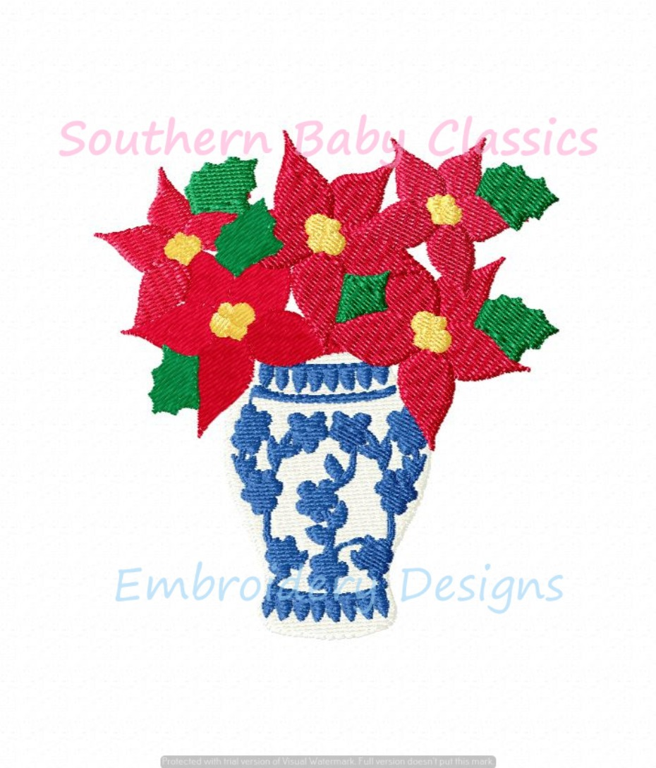 Chinoiserie Vase with Poinsettia Flowers Christmas Machine Embroidery Design Preppy