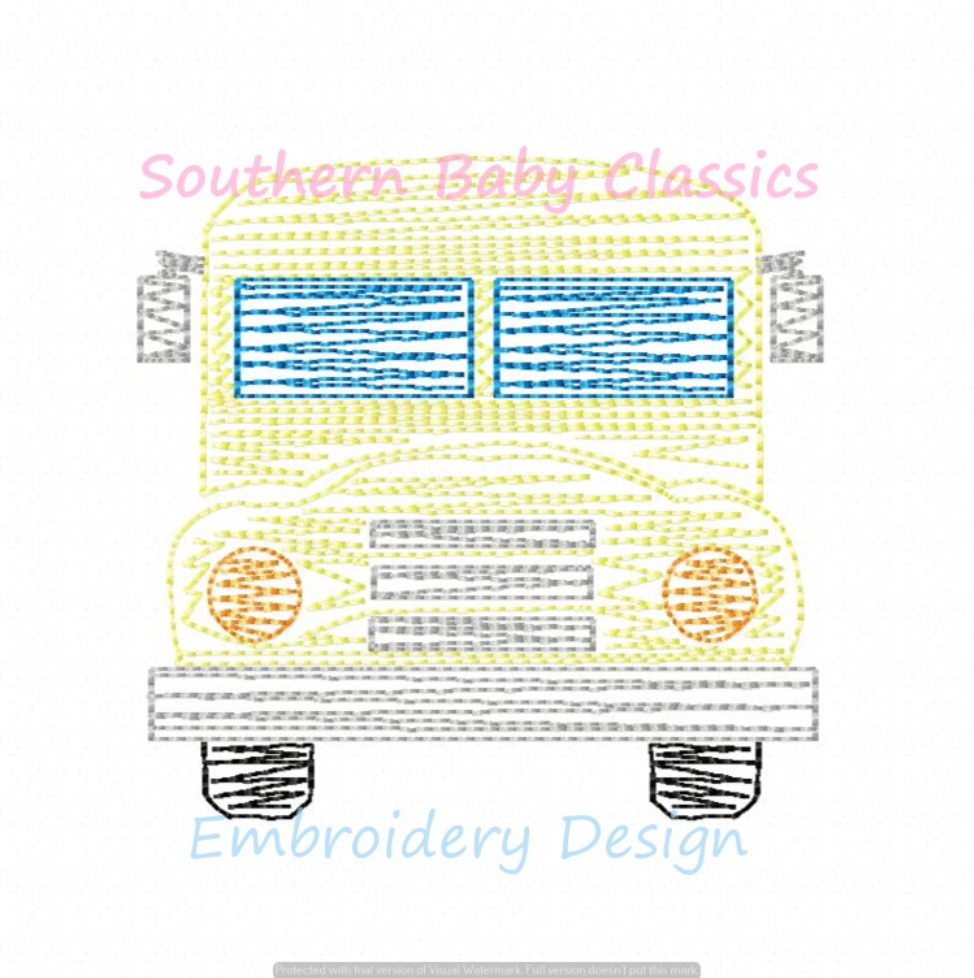 Bus Back To School Quick Stitch Machine Embroidery Design Girl Boy First Day