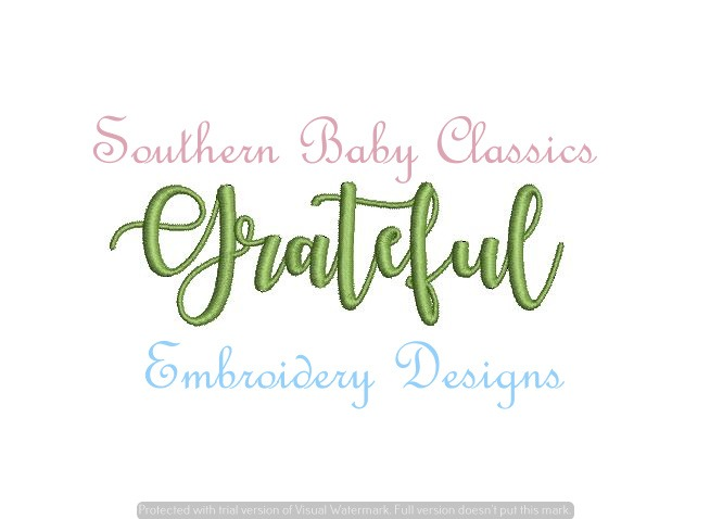 Grateful Word Art Fill Satin Stitch Thanksgiving Fall  Embroidery Design for Embroidery Machine Mono
