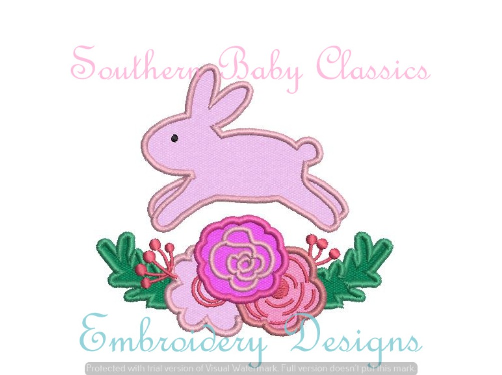 Bunny Flower Swag Satin Applique Machine Embroidery Design Easter