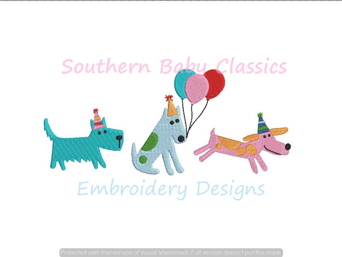 Birthday Party Dogs Dog Balloons Trio Fill Machine Embroidery Design Hat