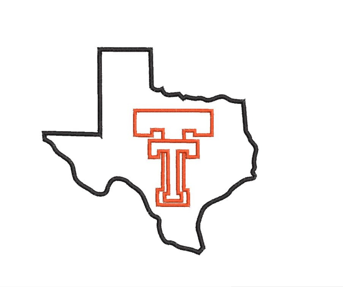 TT Texas State Silhouette Satin Outline Machine Embroidery Design