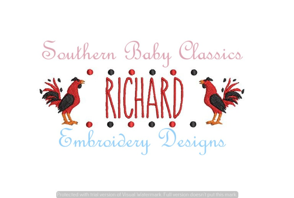 Rooster Cock Mascot Dot Name Plate Frame Machine Embroidery Design