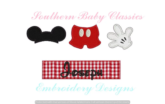 Boy Mouse Accessories Nameplate Blanket Stitch Applique Design File for Embroidery Machine