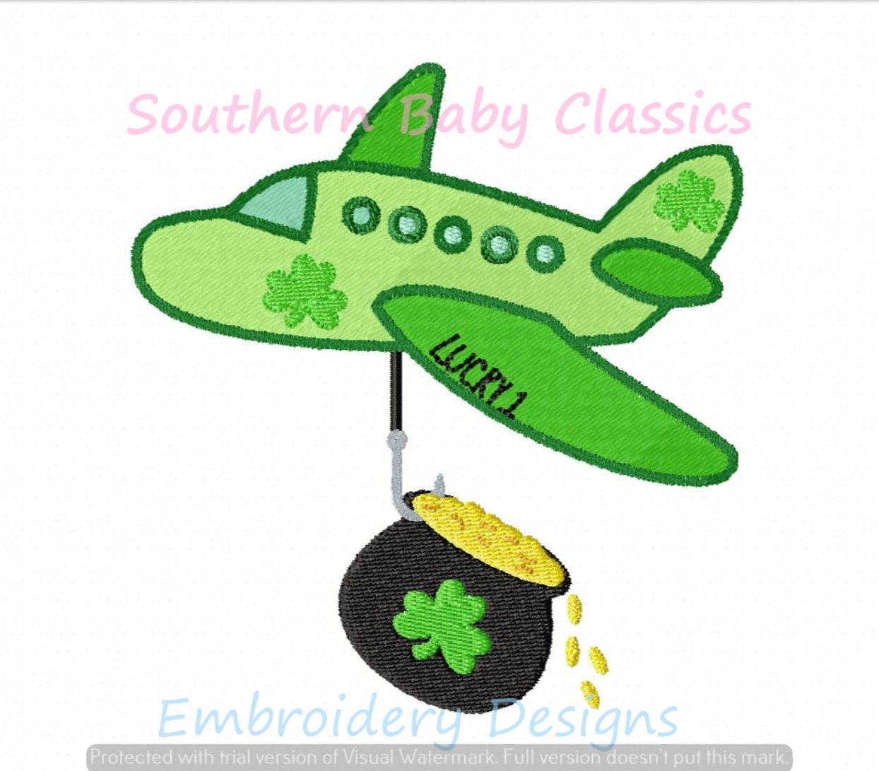 Lucky Airplane St Patrick's Day Machine Embroidery Design Shamrock Clover Boy Patrick Pot Gold Coins