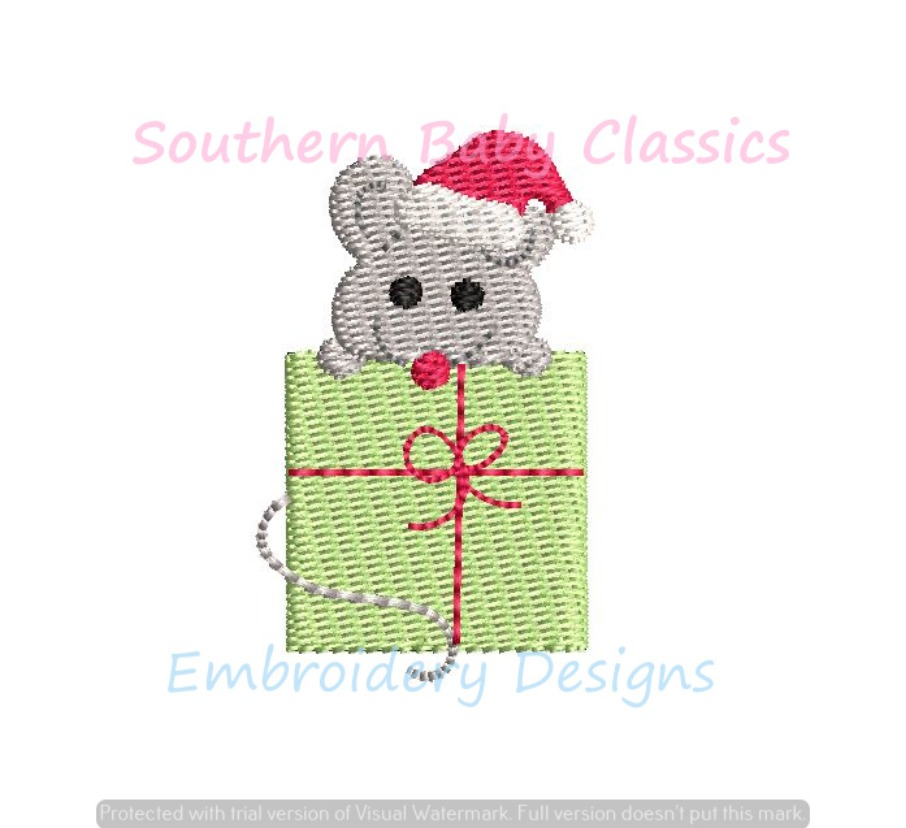 Christmas Santa Hat Mouse on Present Mice Machine Embroidery Design