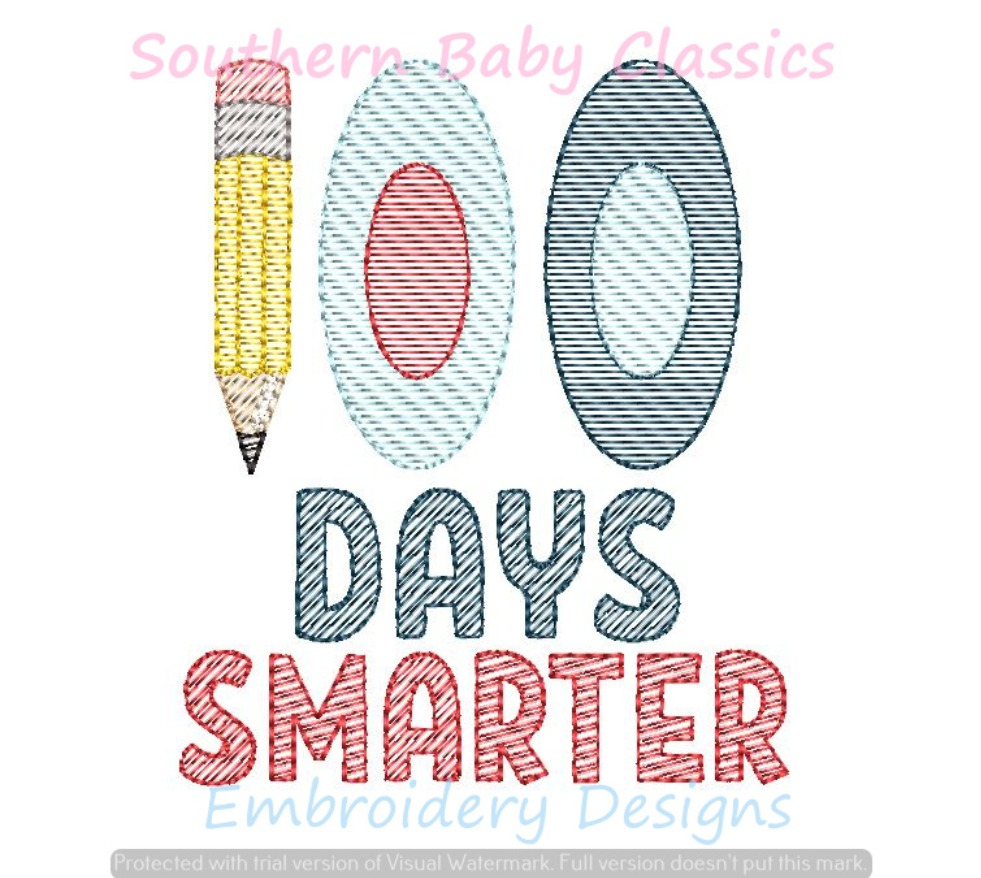 100 Days Smarter 100th Day of School Light Fill Sketchy Machine Embroidery Design