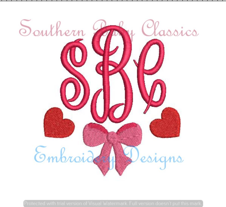 Heart Bow Fill Monogram Swag Machine Embroidery Valentine's Day