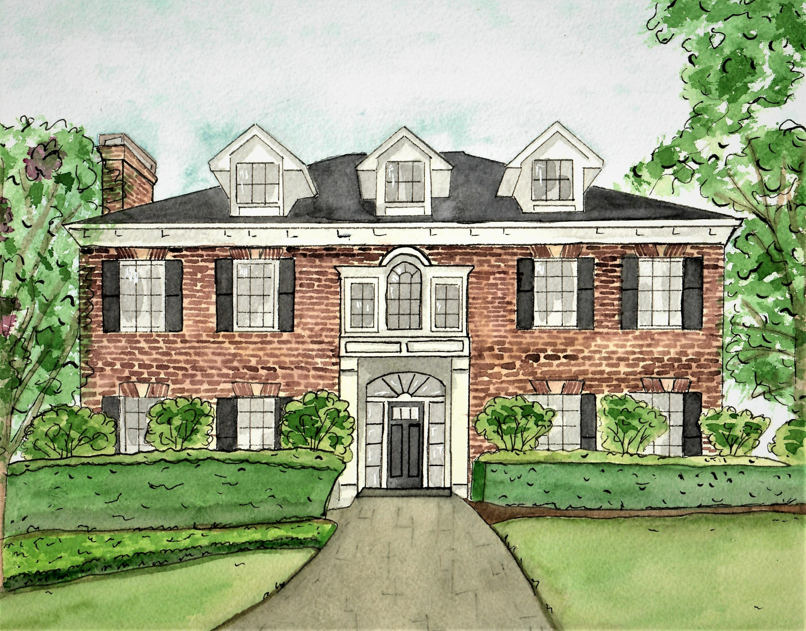 Custom Watercolor Home Portrait Hand Painted House Painting