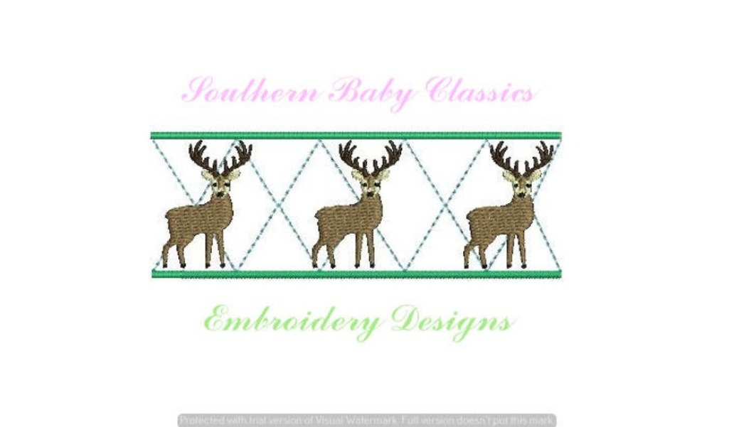 Deer Buck Argyle Row Fill Stitch Machine Embroidery Design Fall Autumn Hunt Hunting