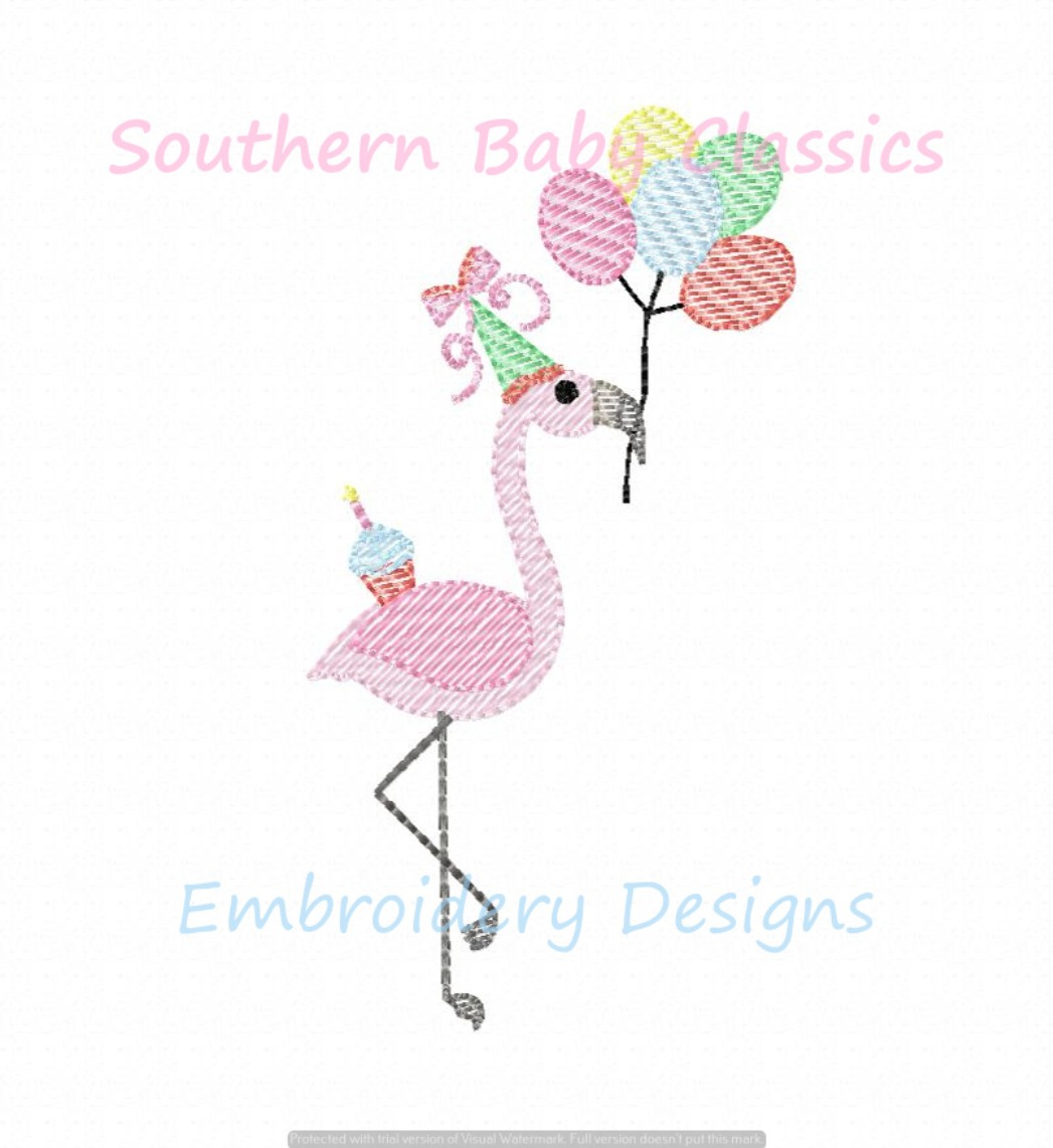 Birthday Party Flamingo Preppy Light Sketchy Fill Machine Embroidery Design Zoo Summer