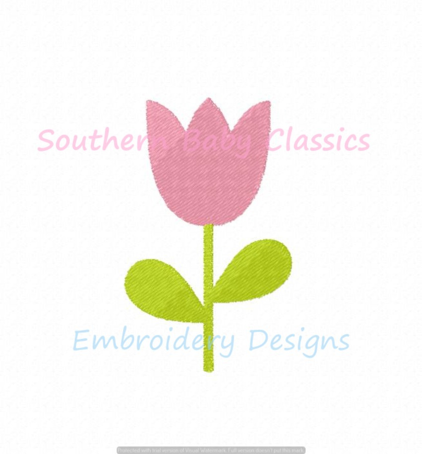 Tulip Flower Mini Fill Machine Embroidery Design Spring Easter Girl Floral