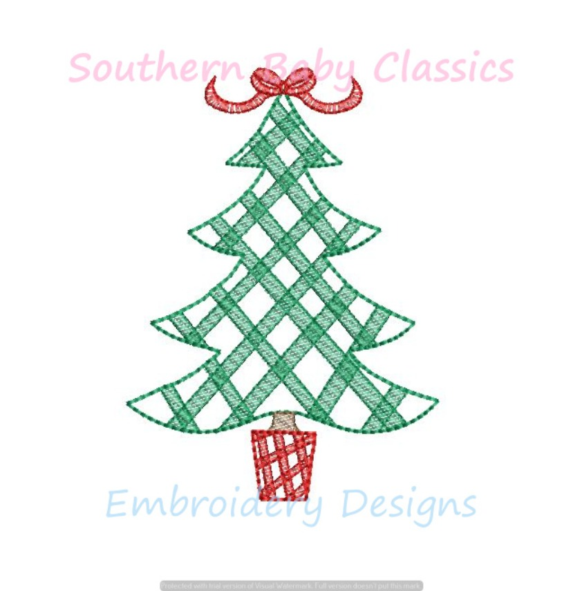 Gingham Light Sketchy Fill Christmas Tree With Bow Topper Preppy Girl