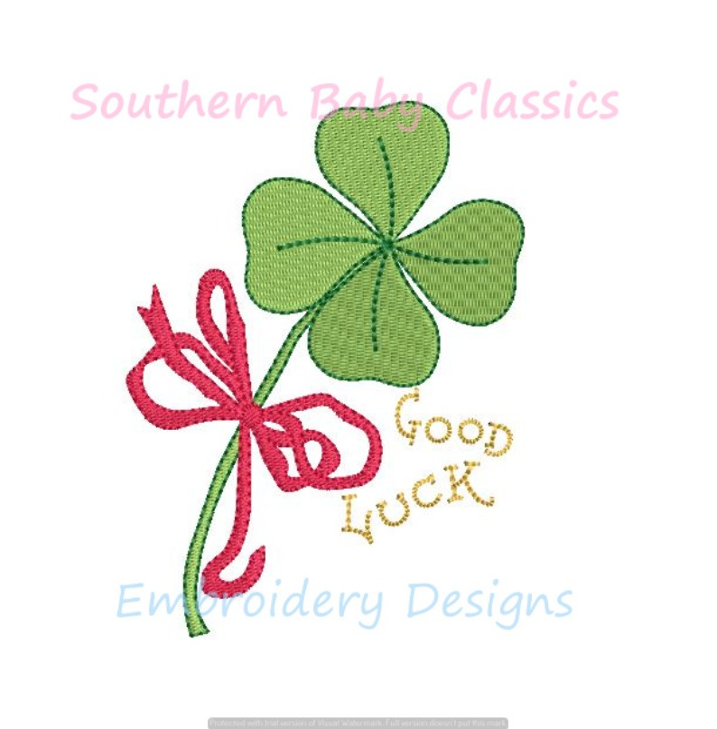 Good Luck Clover Shamrock St. Patrick Day Lucky Charm Mini Fill Machine Embroidery Design