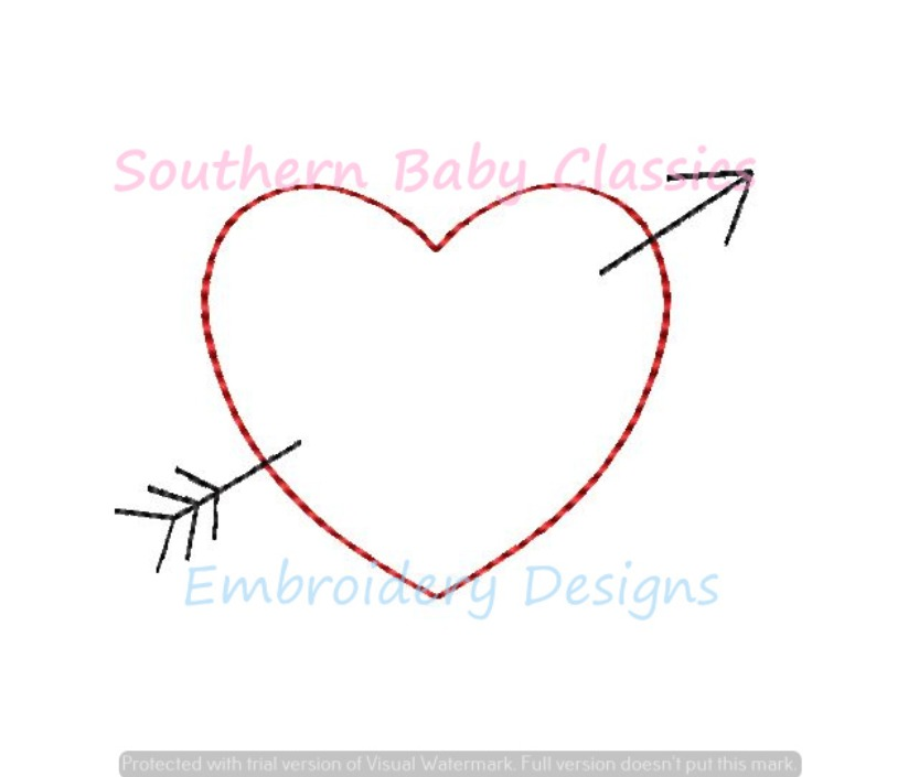 Heart with Arrow Vintage Stitch Machine Embroidery Design Cupid Valentines Day Girl