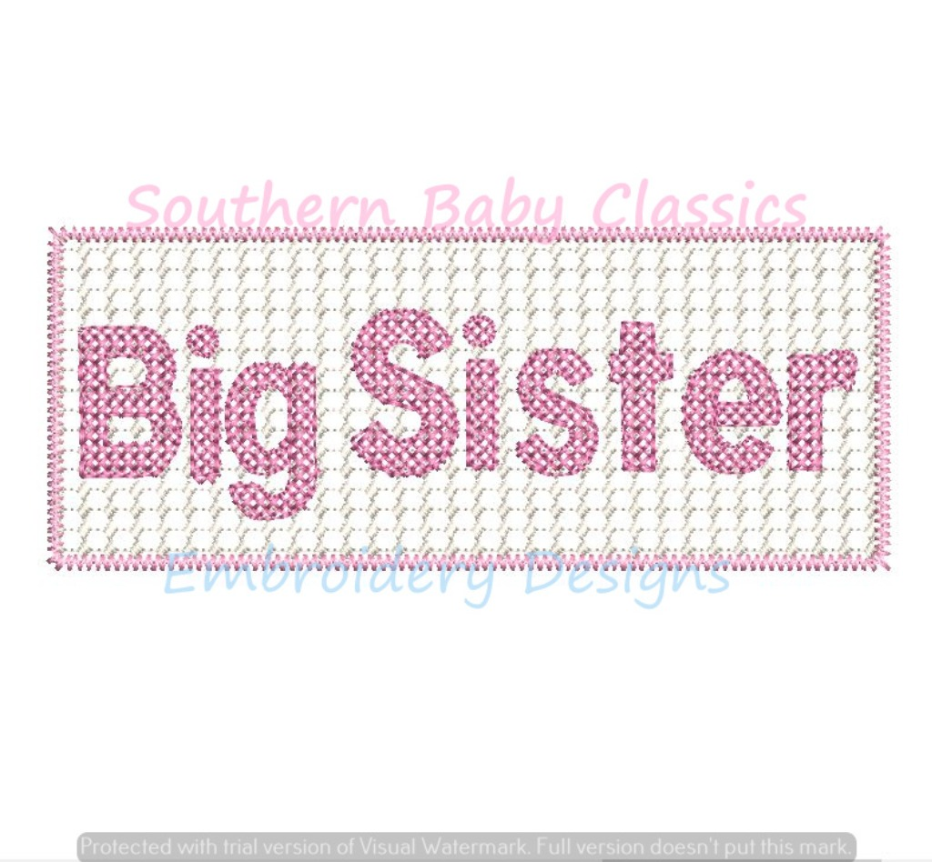 Big Sister Faux Smocking Smocked Panel Machine Embroidery Design New Baby Shower