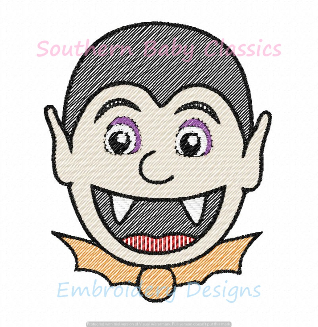 Vampire Halloween Sketchy Fill Machine Embroidery Design Boy Girl Cute Costume Monster