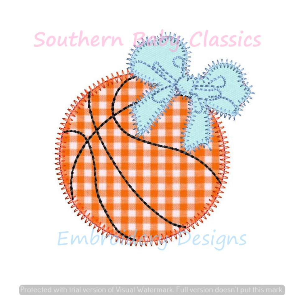 Basketball With Bow Girl Zig Zag Applique Machine Embroidery Design