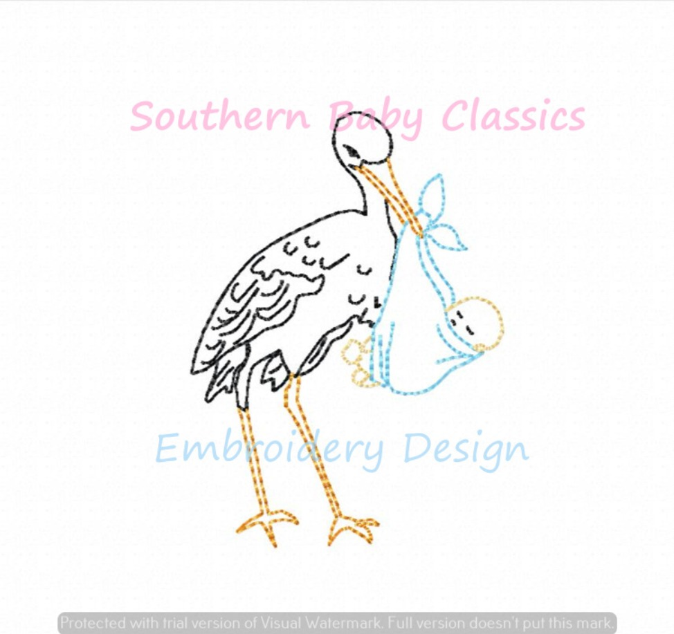 Stork and Baby Vintage Stitch Machine Embroidery Design New Baby Shower Infant