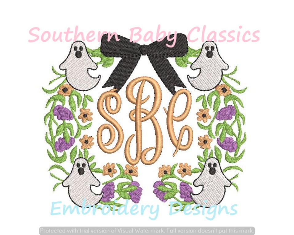 Ghost Floral Monogram Frame Bow Topper Machine Embroidery Design Halloween Girl