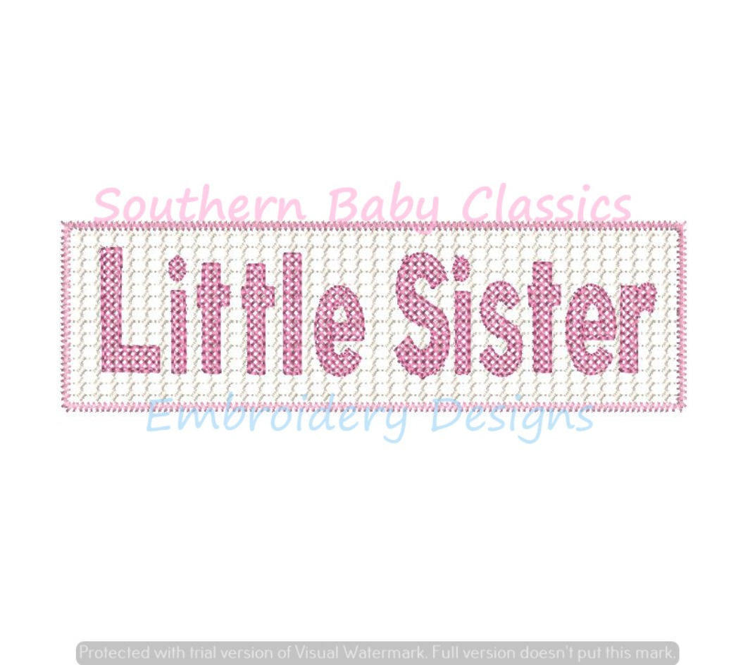 Little Sister Faux Smock Smocking Embroidery Design New Baby Shower Machine Embroidery