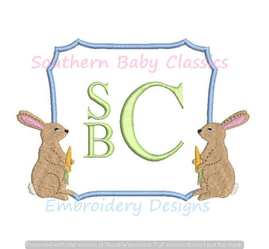 Bunny Rabbit Square Monogram Frame Machine Embroidery Design Baby Easter Spring Shower